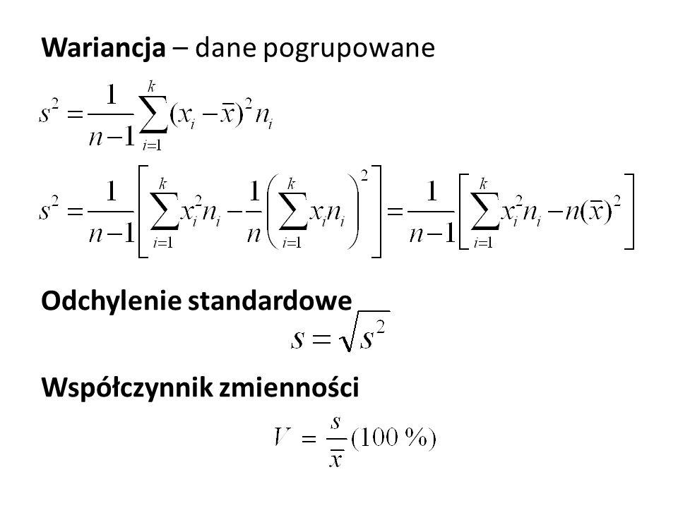 Wariancja – dane pogrupowane Odchylenie standardowe Współczynnik zmienności
