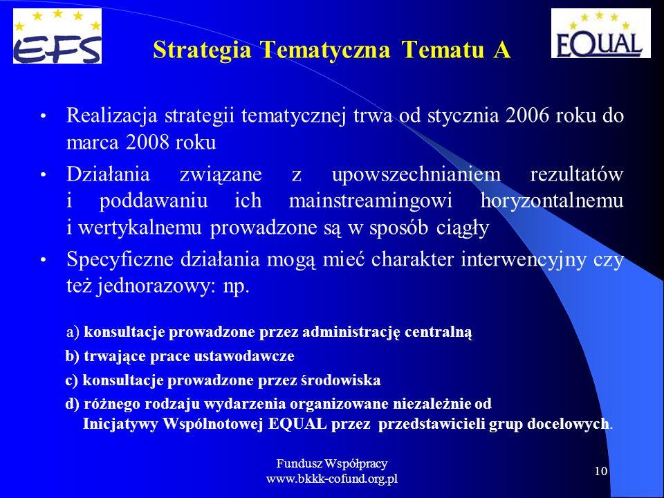 Fundusz Współpracy www.bkkk-cofund.org.pl 10 Strategia Tematyczna Tematu A Realizacja strategii tematycznej trwa od stycznia 2006 roku do marca 2008 roku Działania związane z upowszechnianiem rezultatów i poddawaniu ich mainstreamingowi horyzontalnemu i wertykalnemu prowadzone są w sposób ciągły Specyficzne działania mogą mieć charakter interwencyjny czy też jednorazowy: np.