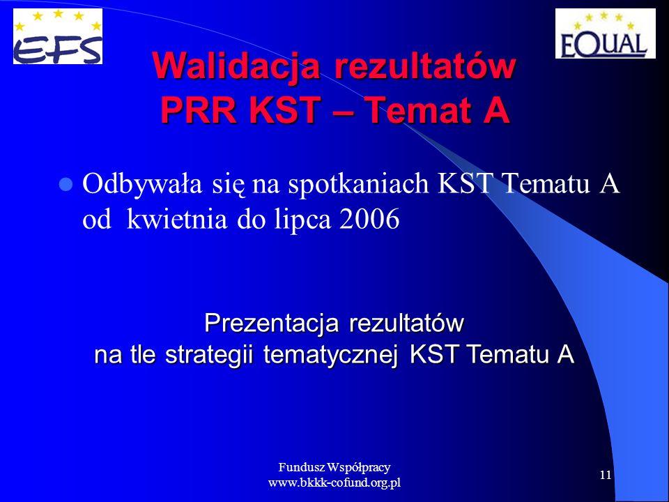 Fundusz Współpracy www.bkkk-cofund.org.pl 11 Walidacja rezultatów PRR KST – Temat A Odbywała się na spotkaniach KST Tematu A od kwietnia do lipca 2006 Prezentacja rezultatów na tle strategii tematycznej KST Tematu A