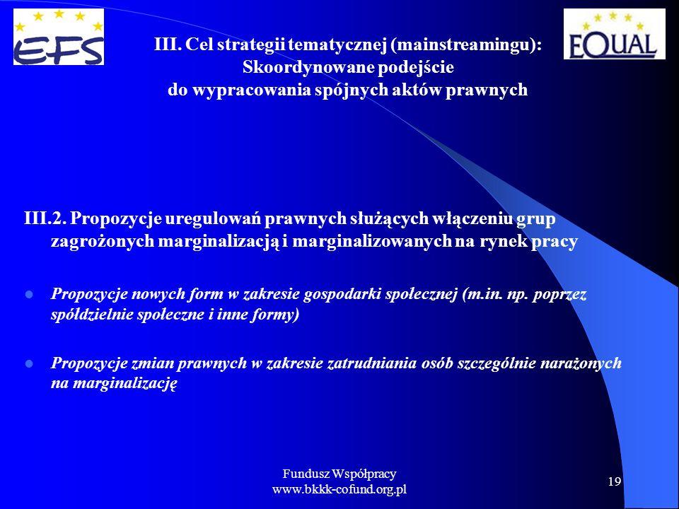 Fundusz Współpracy www.bkkk-cofund.org.pl 19 III.2.