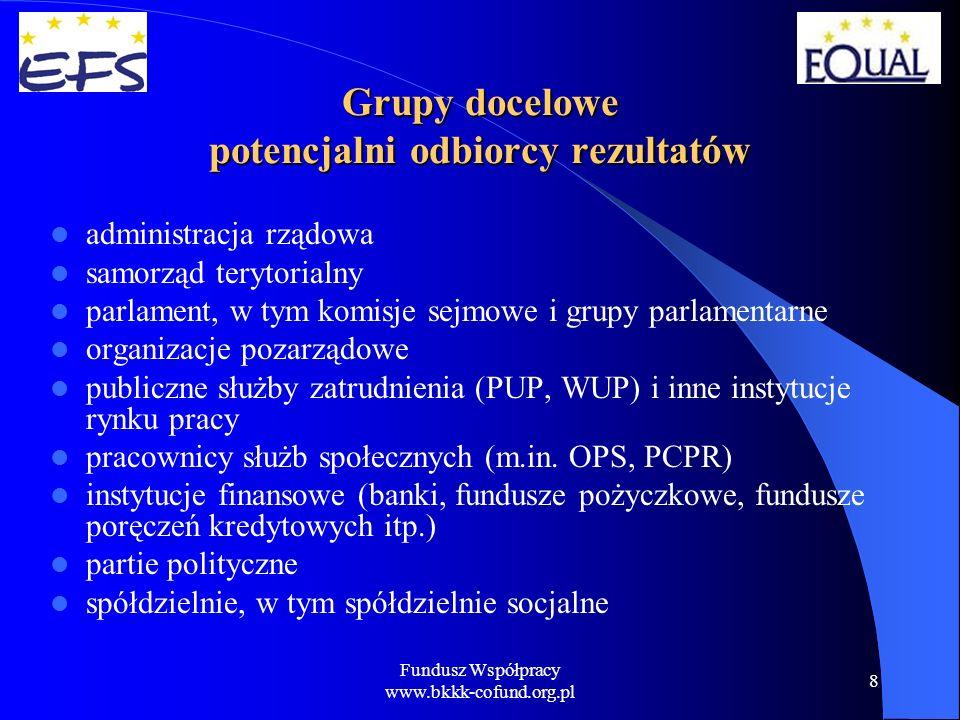 Fundusz Współpracy www.bkkk-cofund.org.pl 9 Grupy docelowe potencjalni odbiorcy rezultatów instytucje wzajemnościowe (np.