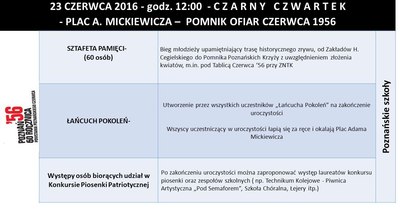 23 CZERWCA 2016 - godz.12:00 - C Z A R N Y C Z W A R T E K - PLAC A.