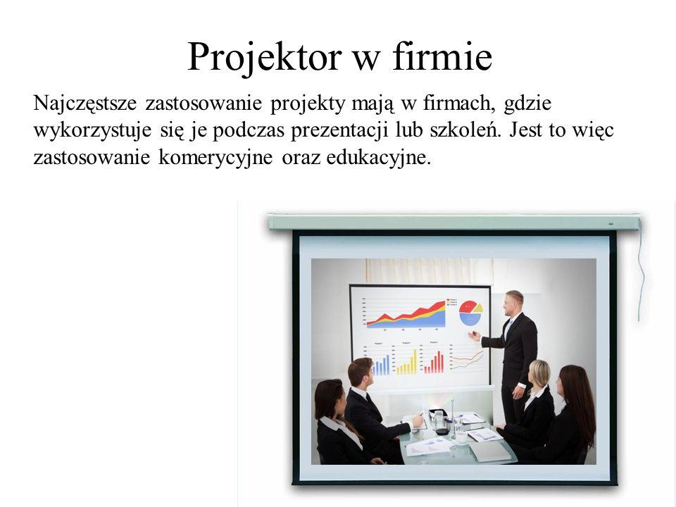 Projektor na uczelni Innym wykorzystaniem projektorów są szkoły i uczelnie, gdzie wykorzystuje się je w celach szkoleniowych dla słuchaczy.