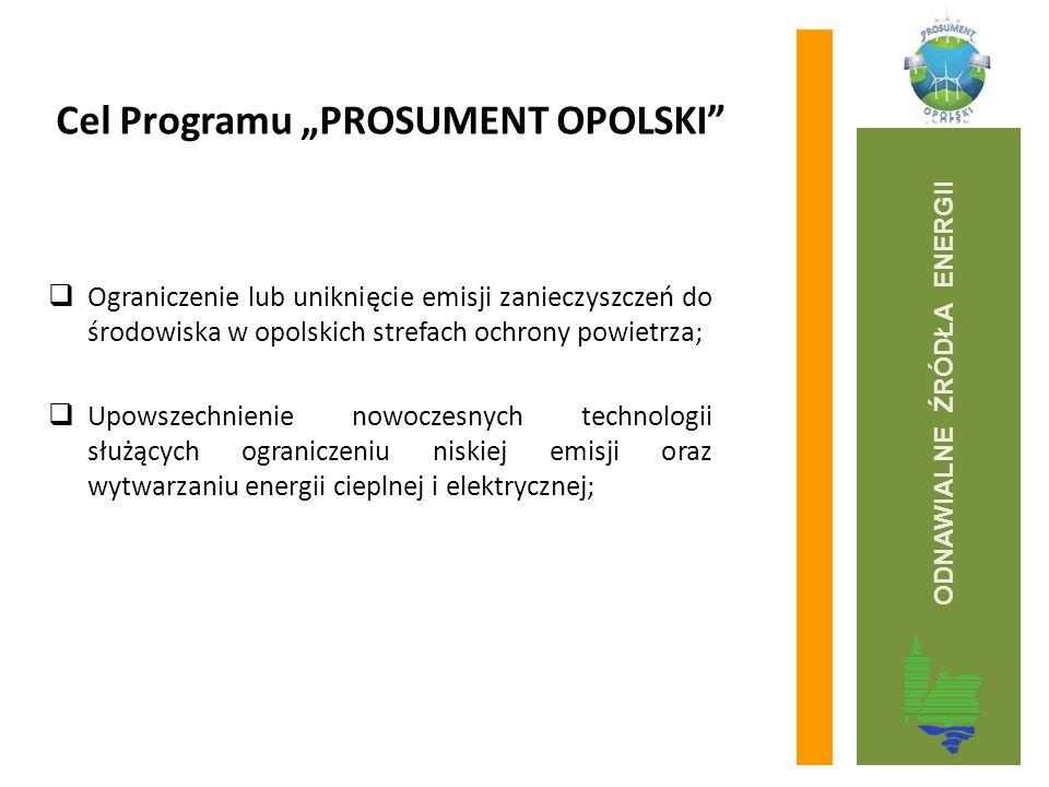 """Cel Programu """"PROSUMENT OPOLSKI""""  Ograniczenie lub uniknięcie emisji zanieczyszczeń do środowiska w opolskich strefach ochrony powietrza;  Upowszech"""