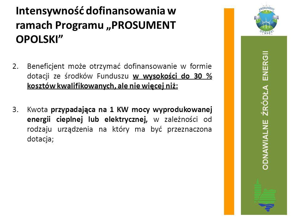 """Intensywność dofinansowania w ramach Programu """"PROSUMENT OPOLSKI"""" 2.Beneficjent może otrzymać dofinansowanie w formie dotacji ze środków Funduszu w wy"""
