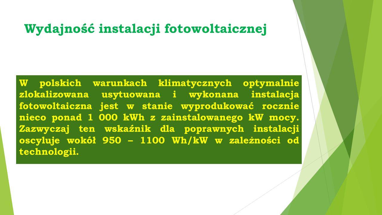 Wydajność instalacji fotowoltaicznej W polskich warunkach klimatycznych optymalnie zlokalizowana usytuowana i wykonana instalacja fotowoltaiczna jest w stanie wyprodukować rocznie nieco ponad 1 000 kWh z zainstalowanego kW mocy.