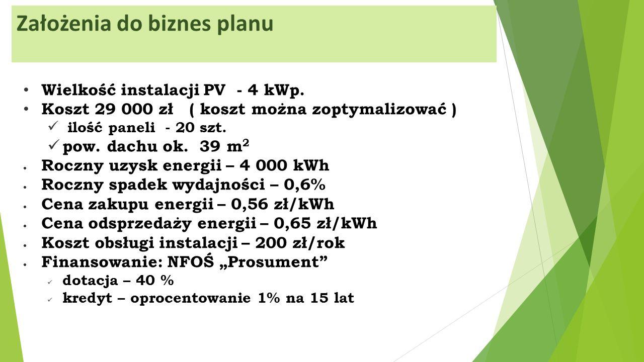 Założenia do biznes planu Wielkość instalacji PV - 4 kWp.