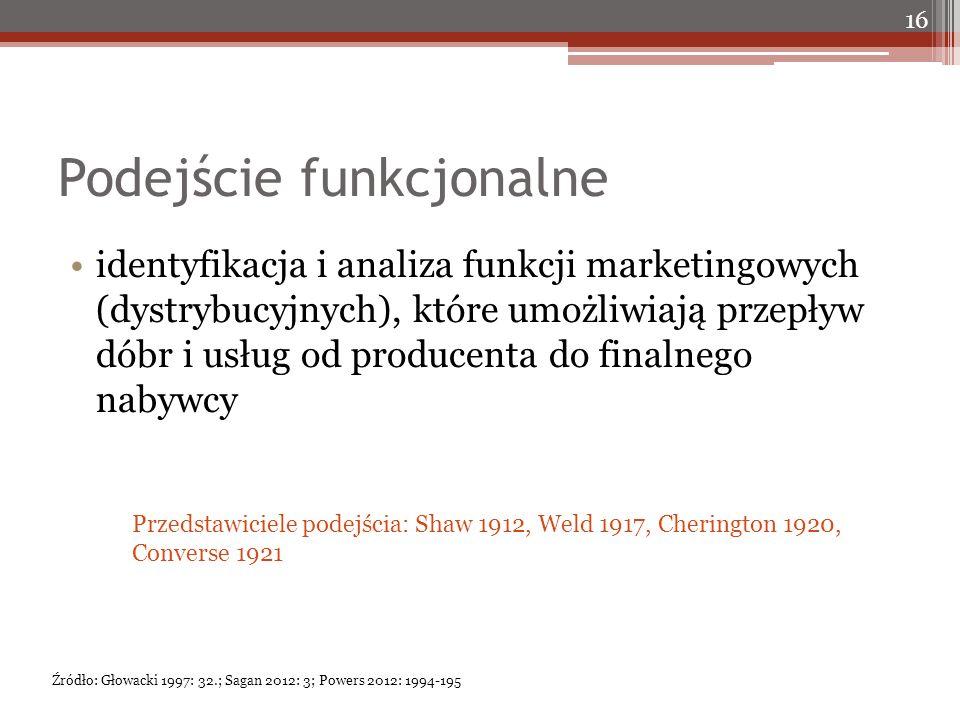 Podejście funkcjonalne identyfikacja i analiza funkcji marketingowych (dystrybucyjnych), które umożliwiają przepływ dóbr i usług od producenta do fina