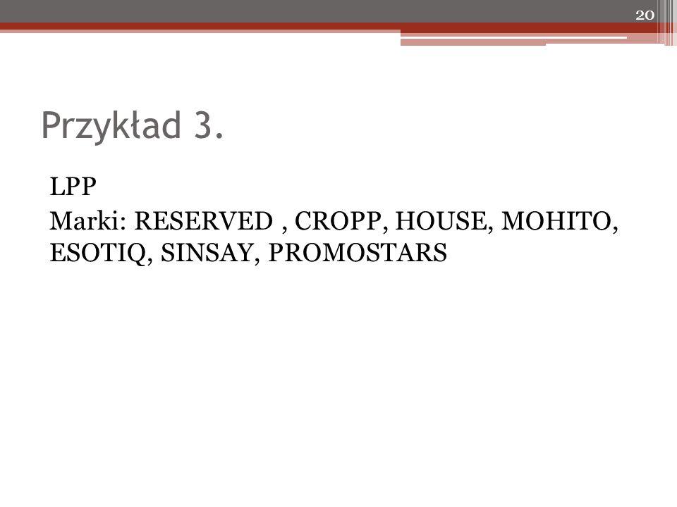 Przykład 3. LPP Marki: RESERVED, CROPP, HOUSE, MOHITO, ESOTIQ, SINSAY, PROMOSTARS 20