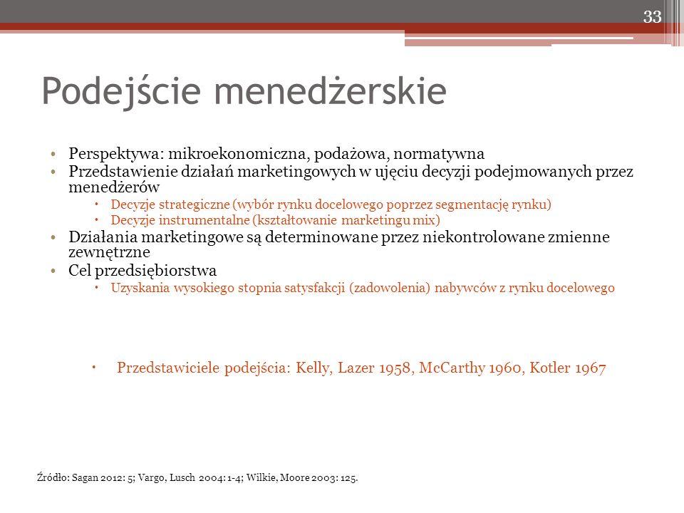 Podejście menedżerskie Perspektywa: mikroekonomiczna, podażowa, normatywna Przedstawienie działań marketingowych w ujęciu decyzji podejmowanych przez menedżerów  Decyzje strategiczne (wybór rynku docelowego poprzez segmentację rynku)  Decyzje instrumentalne (kształtowanie marketingu mix) Działania marketingowe są determinowane przez niekontrolowane zmienne zewnętrzne Cel przedsiębiorstwa  Uzyskania wysokiego stopnia satysfakcji (zadowolenia) nabywców z rynku docelowego  Przedstawiciele podejścia: Kelly, Lazer 1958, McCarthy 1960, Kotler 1967 33 Źródło: Sagan 2012: 5; Vargo, Lusch 2004: 1-4; Wilkie, Moore 2003: 125.
