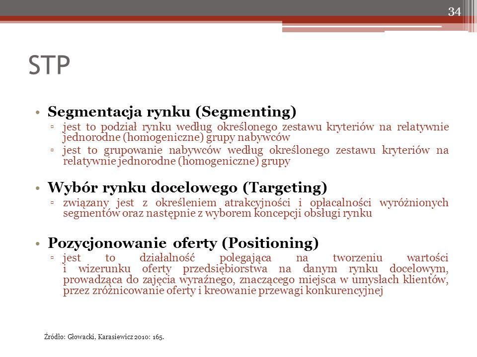 STP 34 Segmentacja rynku (Segmenting) ▫jest to podział rynku według określonego zestawu kryteriów na relatywnie jednorodne (homogeniczne) grupy nabywców ▫jest to grupowanie nabywców według określonego zestawu kryteriów na relatywnie jednorodne (homogeniczne) grupy Wybór rynku docelowego (Targeting) ▫związany jest z określeniem atrakcyjności i opłacalności wyróżnionych segmentów oraz następnie z wyborem koncepcji obsługi rynku Pozycjonowanie oferty (Positioning) ▫jest to działalność polegająca na tworzeniu wartości i wizerunku oferty przedsiębiorstwa na danym rynku docelowym, prowadząca do zajęcia wyraźnego, znaczącego miejsca w umysłach klientów, przez zróżnicowanie oferty i kreowanie przewagi konkurencyjnej Źródło: Głowacki, Karasiewicz 2010: 165.