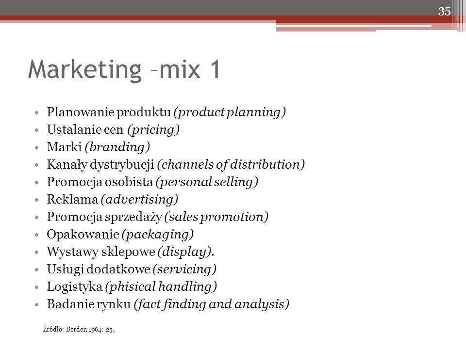 Marketing –mix 1 Planowanie produktu (product planning) Ustalanie cen (pricing) Marki (branding) Kanały dystrybucji (channels of distribution) Promocja osobista (personal selling) Reklama (advertising) Promocja sprzedaży (sales promotion) Opakowanie (packaging) Wystawy sklepowe (display).