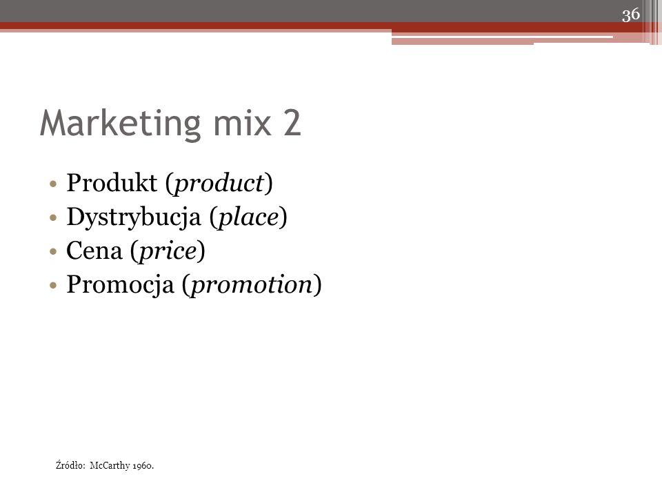 Marketing mix 2 Produkt (product) Dystrybucja (place) Cena (price) Promocja (promotion) 36 Źródło: McCarthy 1960.