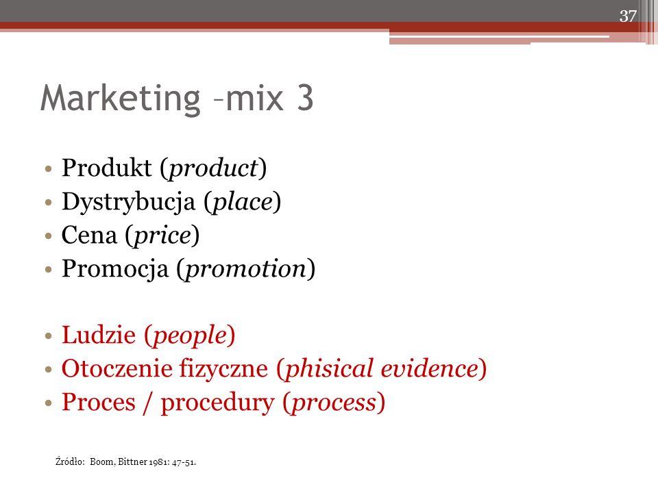 Marketing –mix 3 Produkt (product) Dystrybucja (place) Cena (price) Promocja (promotion) Ludzie (people) Otoczenie fizyczne (phisical evidence) Proces / procedury (process) 37 Źródło: Boom, Bittner 1981: 47-51.