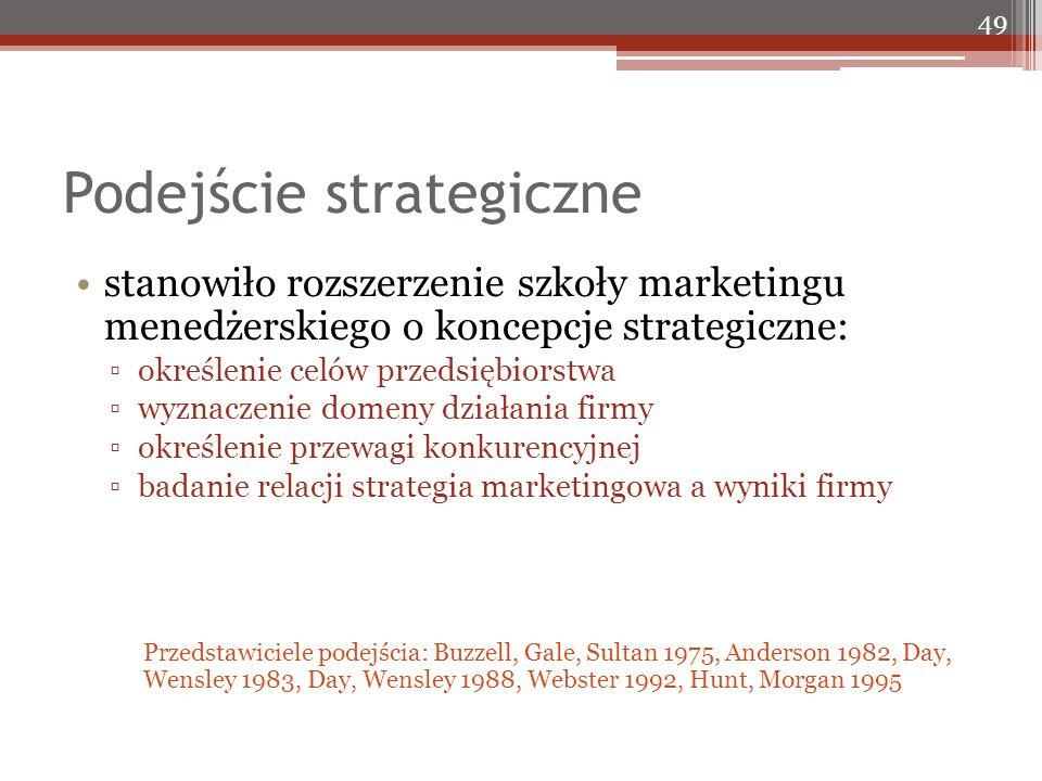 Podejście strategiczne 49 stanowiło rozszerzenie szkoły marketingu menedżerskiego o koncepcje strategiczne: ▫określenie celów przedsiębiorstwa ▫wyznaczenie domeny działania firmy ▫określenie przewagi konkurencyjnej ▫badanie relacji strategia marketingowa a wyniki firmy Przedstawiciele podejścia: Buzzell, Gale, Sultan 1975, Anderson 1982, Day, Wensley 1983, Day, Wensley 1988, Webster 1992, Hunt, Morgan 1995