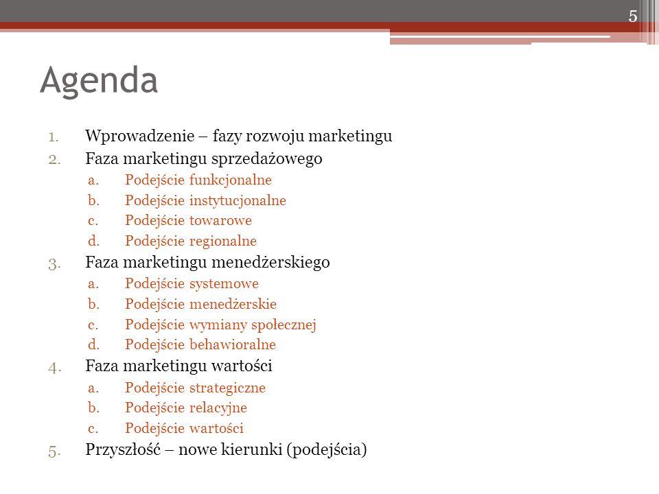Agenda 1.Wprowadzenie – fazy rozwoju marketingu 2.Faza marketingu sprzedażowego a.Podejście funkcjonalne b.Podejście instytucjonalne c.Podejście towarowe d.Podejście regionalne 3.Faza marketingu menedżerskiego a.Podejście systemowe b.Podejście menedżerskie c.Podejście wymiany społecznej d.Podejście behawioralne 4.Faza marketingu wartości a.Podejście strategiczne b.Podejście relacyjne c.Podejście wartości 5.Przyszłość – nowe kierunki (podejścia) 5
