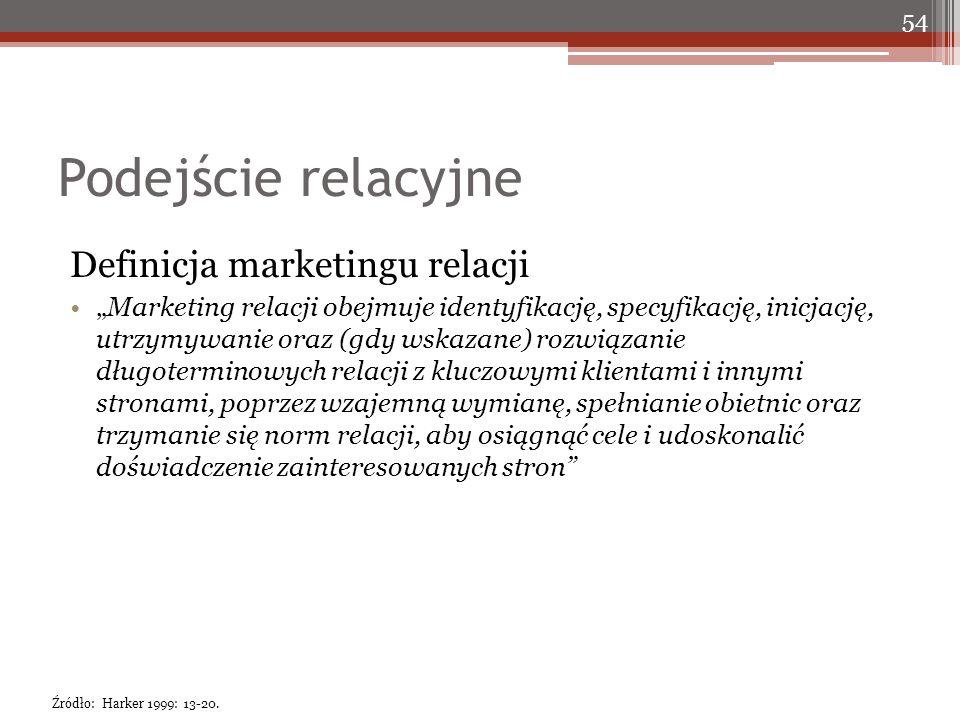 """Podejście relacyjne Definicja marketingu relacji """"Marketing relacji obejmuje identyfikację, specyfikację, inicjację, utrzymywanie oraz (gdy wskazane) rozwiązanie długoterminowych relacji z kluczowymi klientami i innymi stronami, poprzez wzajemną wymianę, spełnianie obietnic oraz trzymanie się norm relacji, aby osiągnąć cele i udoskonalić doświadczenie zainteresowanych stron 54 Źródło: Harker 1999: 13-20."""