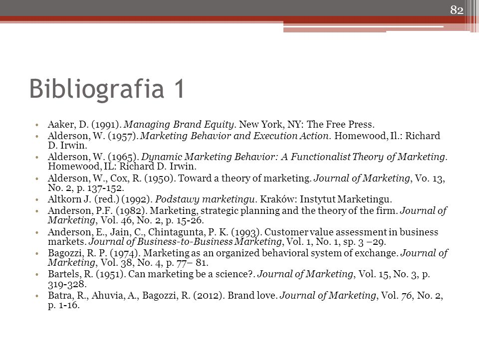 Bibliografia 1 Aaker, D. (1991). Managing Brand Equity.