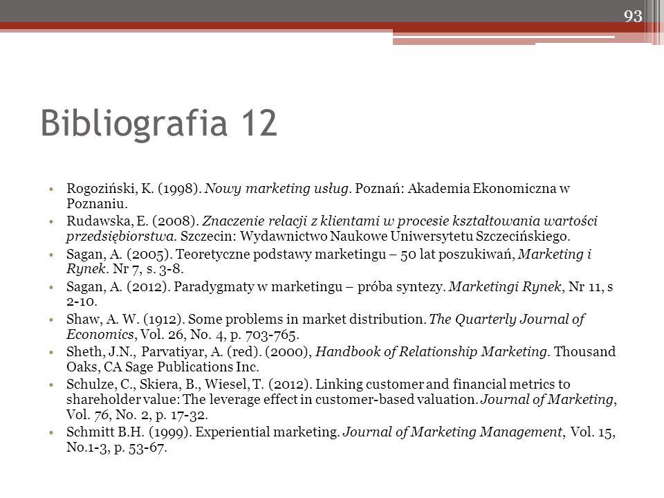 Bibliografia 12 Rogoziński, K. (1998). Nowy marketing usług. Poznań: Akademia Ekonomiczna w Poznaniu. Rudawska, E. (2008). Znaczenie relacji z klienta