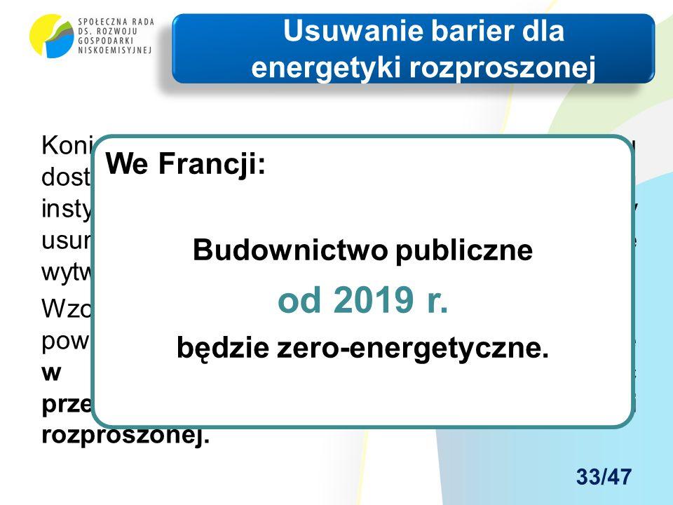 Konieczne są działania administracyjne w celu dostarczenia mechanizmów, zachęt i ram instytucjonalnych, finansowych i prawnych, by usunąć istniejące bariery utrudniające efektywne wytwarzanie energii.