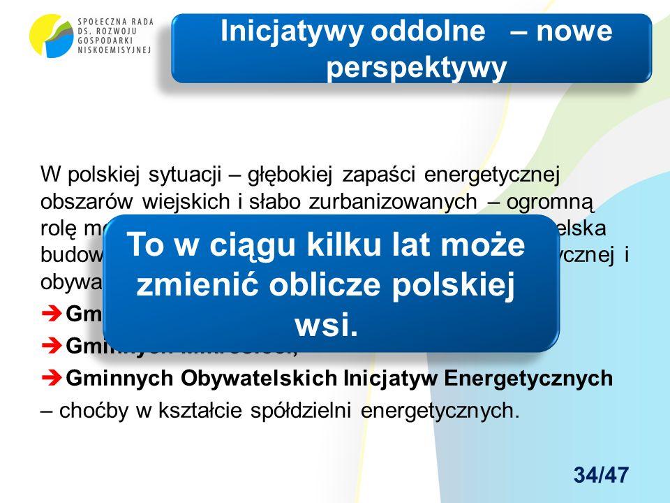 W polskiej sytuacji – głębokiej zapaści energetycznej obszarów wiejskich i słabo zurbanizowanych – ogromną rolę może spełnić oddolna lokalna inicjatywa obywatelska budowy nowoczesnej gminnej infrastruktury energetycznej i obywatelskiej:  Gminnych Centrów Energetyki Odnawialnej,  Gminnych Mikrosieci,  Gminnych Obywatelskich Inicjatyw Energetycznych – choćby w kształcie spółdzielni energetycznych.