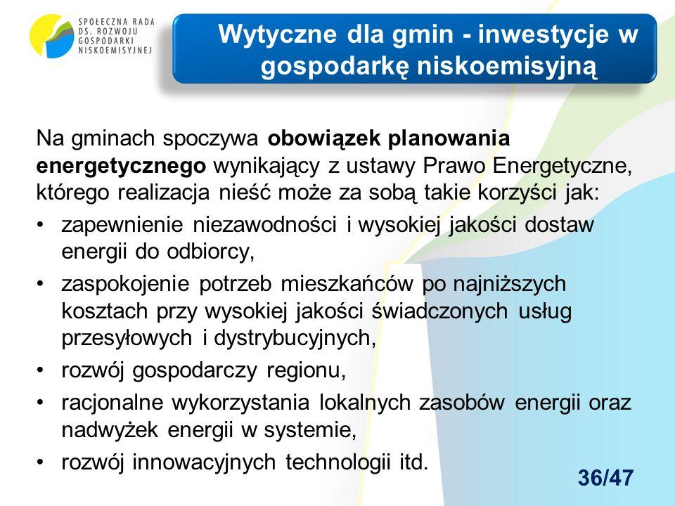 Na gminach spoczywa obowiązek planowania energetycznego wynikający z ustawy Prawo Energetyczne, którego realizacja nieść może za sobą takie korzyści jak: zapewnienie niezawodności i wysokiej jakości dostaw energii do odbiorcy, zaspokojenie potrzeb mieszkańców po najniższych kosztach przy wysokiej jakości świadczonych usług przesyłowych i dystrybucyjnych, rozwój gospodarczy regionu, racjonalne wykorzystania lokalnych zasobów energii oraz nadwyżek energii w systemie, rozwój innowacyjnych technologii itd.