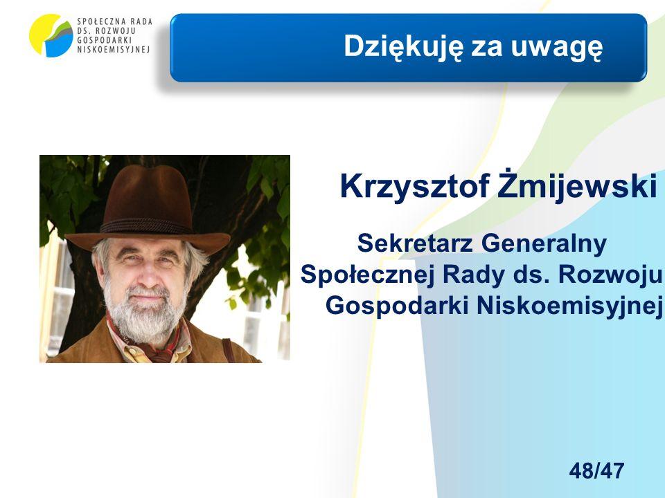 Krzysztof Żmijewski Dziękuję za uwagę Sekretarz Generalny Społecznej Rady ds.