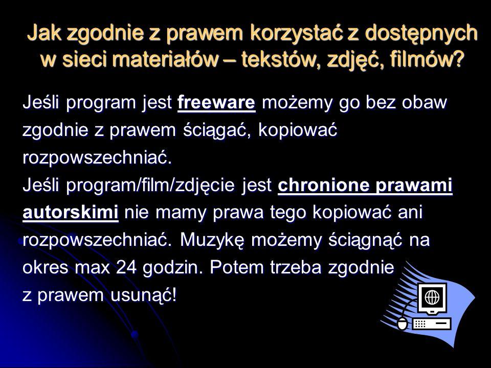 Jak zgodnie z prawem korzystać z dostępnych w sieci materiałów – tekstów, zdjęć, filmów.