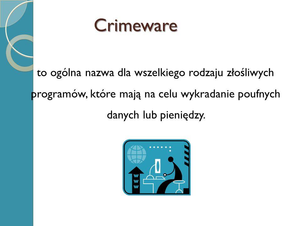 Crimeware to ogólna nazwa dla wszelkiego rodzaju złośliwych programów, które mają na celu wykradanie poufnych danych lub pieniędzy.