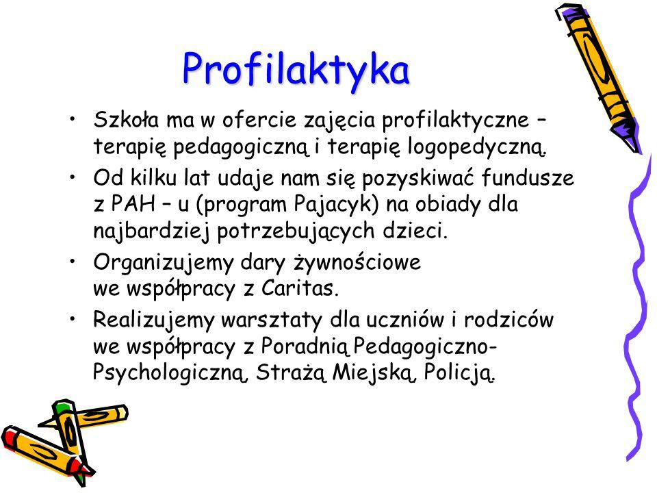 Profilaktyka Szkoła ma w ofercie zajęcia profilaktyczne – terapię pedagogiczną i terapię logopedyczną.