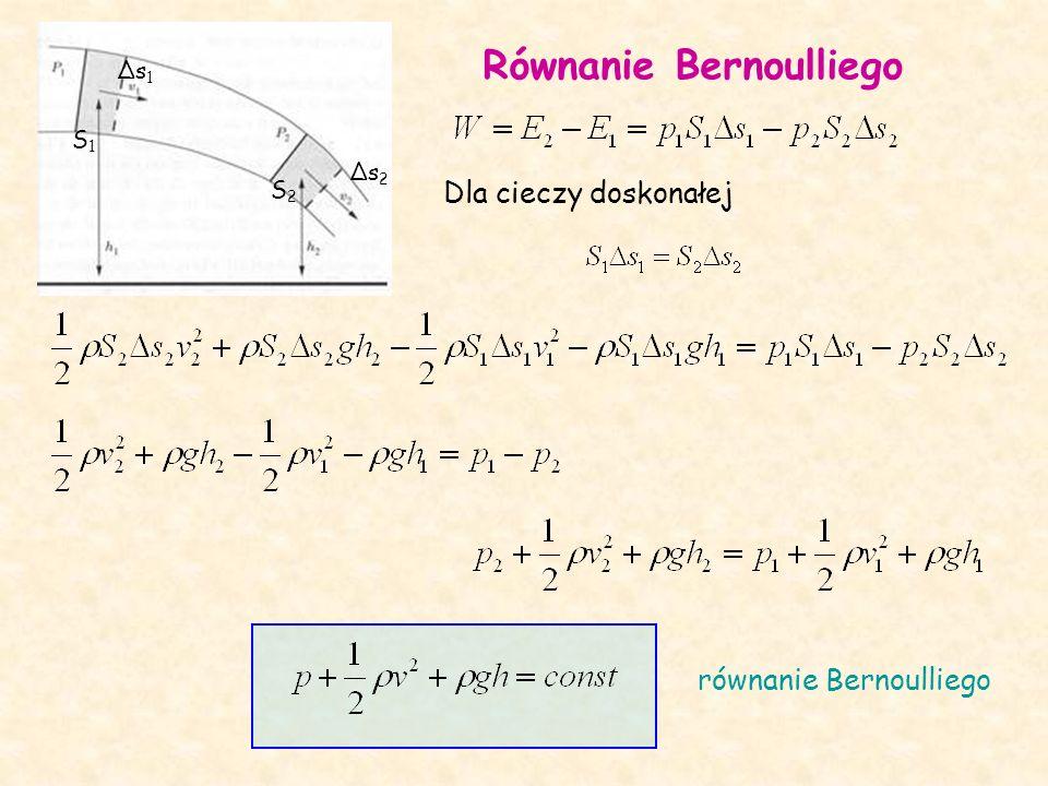 Równanie Bernoulliego S1S1 S2S2 Δs1Δs1 Δs2Δs2 Dla cieczy doskonałej równanie Bernoulliego