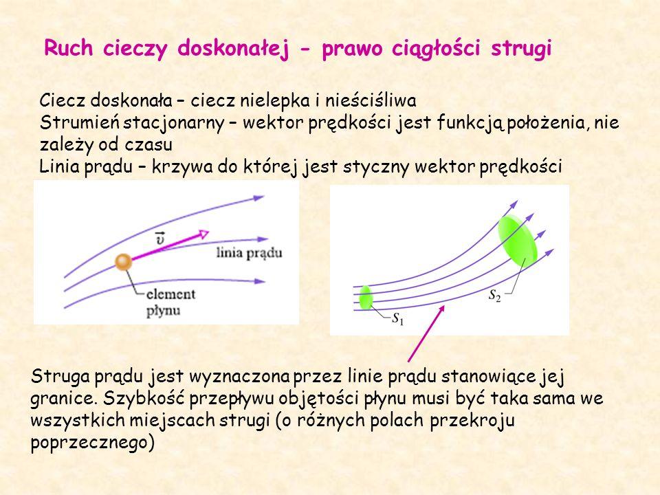 Ruch cieczy doskonałej - prawo ciągłości strugi Ciecz doskonała – ciecz nielepka i nieściśliwa Strumień stacjonarny – wektor prędkości jest funkcją położenia, nie zależy od czasu Linia prądu – krzywa do której jest styczny wektor prędkości Struga prądu jest wyznaczona przez linie prądu stanowiące jej granice.
