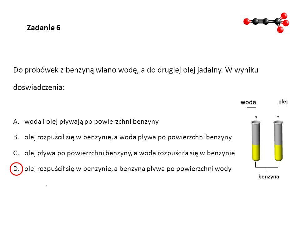 Zadanie 7 Przeczytaj zdania opisujące metan i wpisz literę P (prawda) lub F (fałsz).