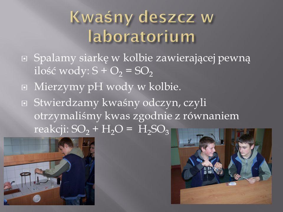  Spalamy siarkę w kolbie zawierającej pewną ilość wody: S + O 2 = SO 2  Mierzymy pH wody w kolbie.