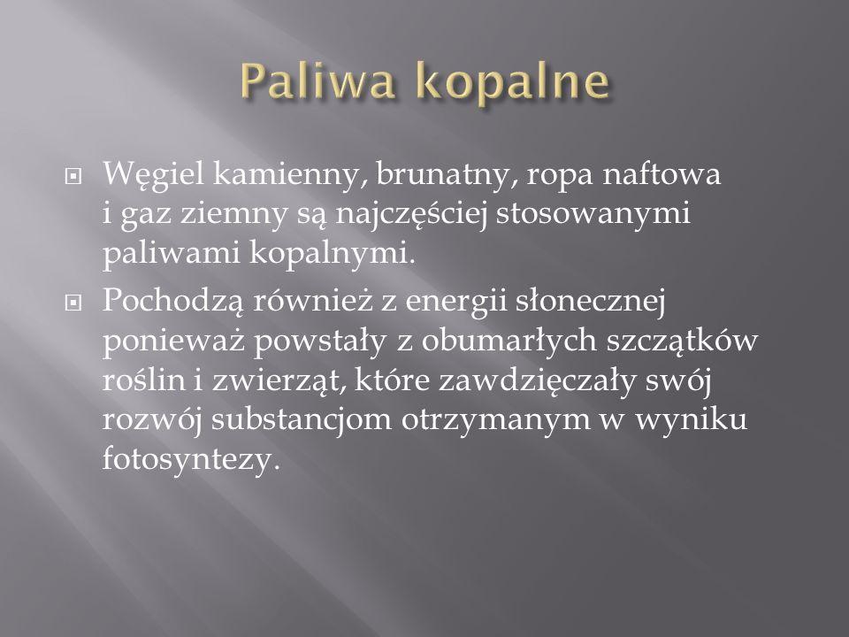  Węgiel kamienny, brunatny, ropa naftowa i gaz ziemny są najczęściej stosowanymi paliwami kopalnymi.