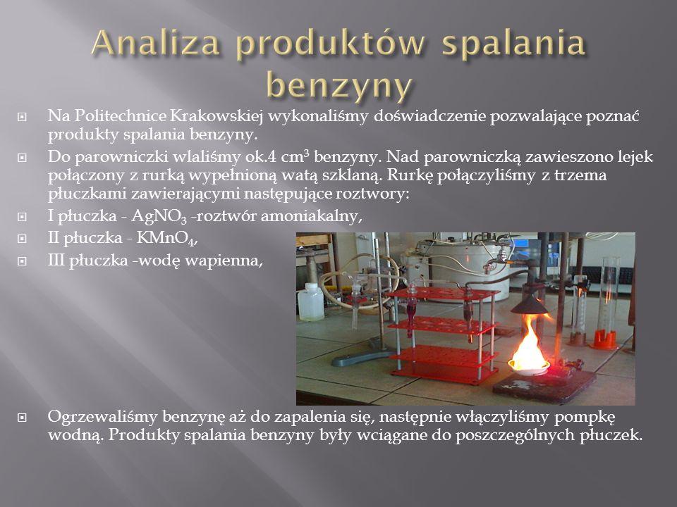  Na Politechnice Krakowskiej wykonaliśmy doświadczenie pozwalające poznać produkty spalania benzyny.