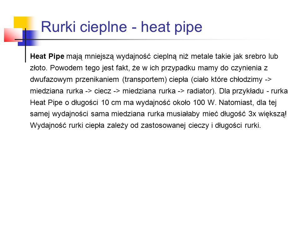 Heat Pipe mają mniejszą wydajność cieplną niż metale takie jak srebro lub złoto.