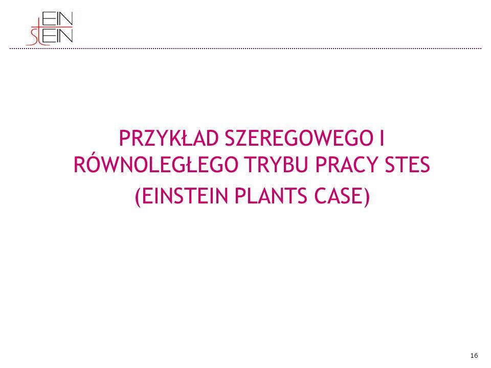 PRZYKŁAD SZEREGOWEGO I RÓWNOLEGŁEGO TRYBU PRACY STES (EINSTEIN PLANTS CASE) 16