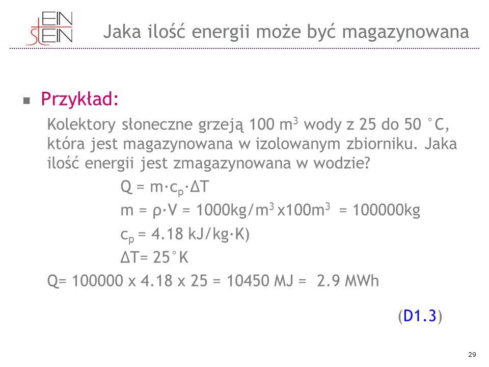 Przykład: Kolektory słoneczne grzeją 100 m 3 wody z 25 do 50 °C, która jest magazynowana w izolowanym zbiorniku. Jaka ilość energii jest zmagazynowana