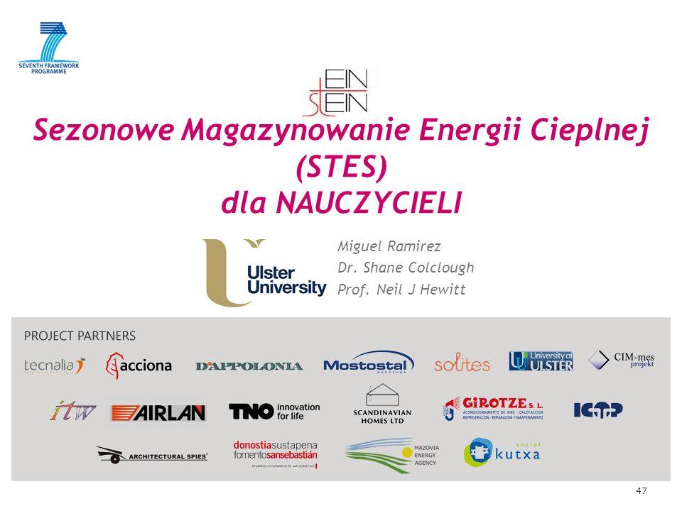 47 Sezonowe Magazynowanie Energii Cieplnej (STES) dla NAUCZYCIELI Miguel Ramirez Dr. Shane Colclough Prof. Neil J Hewitt