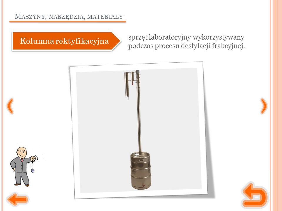 M ASZYNY, NARZĘDZIA, MATERIAŁY sprzęt laboratoryjny wykorzystywany podczas procesu destylacji frakcyjnej.