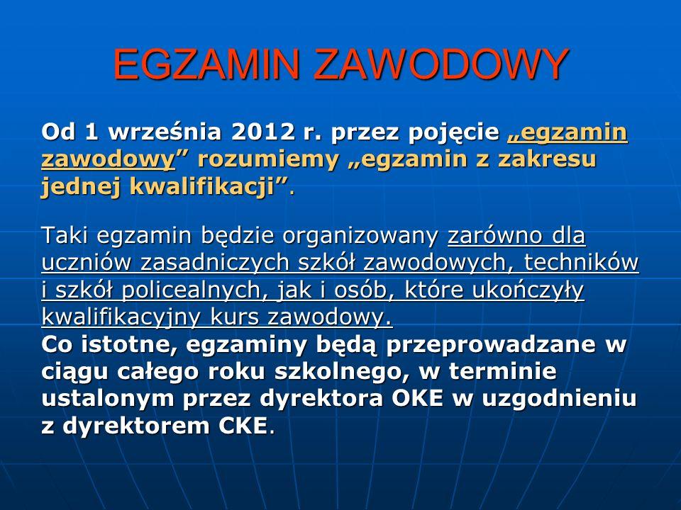 EGZAMIN ZAWODOWY Od 1 września 2012 r.