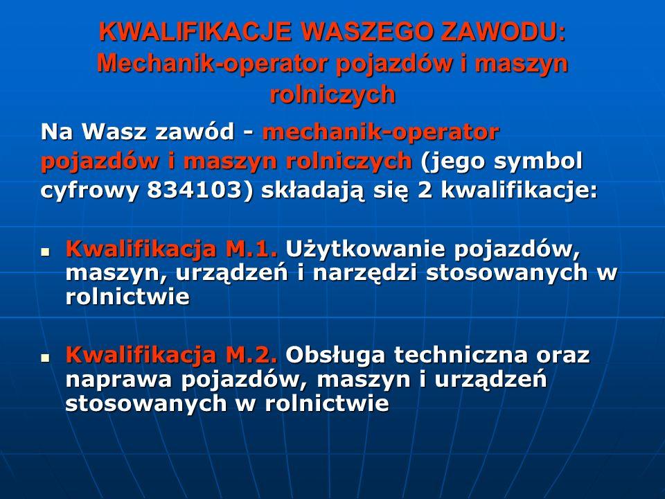 KWALIFIKACJE WASZEGO ZAWODU: Mechanik-operator pojazdów i maszyn rolniczych Na Wasz zawód - mechanik-operator pojazdów i maszyn rolniczych (jego symbol cyfrowy 834103) składają się 2 kwalifikacje: Kwalifikacja M.1.