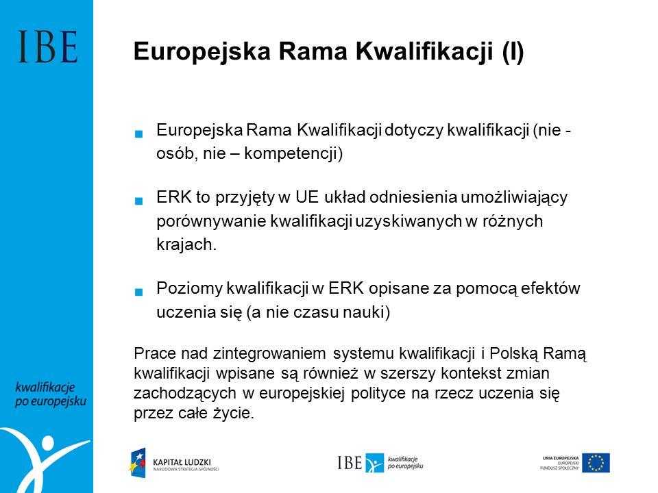 Europejska Rama Kwalifikacji (I)  Europejska Rama Kwalifikacji dotyczy kwalifikacji (nie - osób, nie – kompetencji)  ERK to przyjęty w UE układ odniesienia umożliwiający porównywanie kwalifikacji uzyskiwanych w różnych krajach.