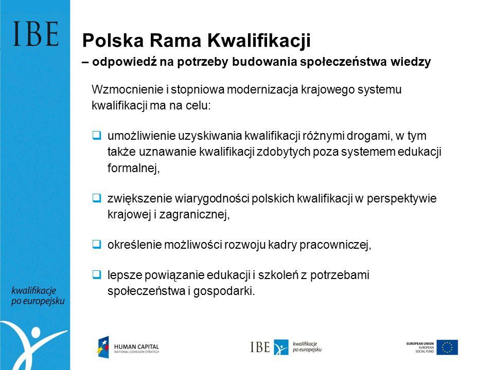 Polska Rama Kwalifikacji – odpowiedź na potrzeby budowania społeczeństwa wiedzy Wzmocnienie i stopniowa modernizacja krajowego systemu kwalifikacji ma na celu:  umożliwienie uzyskiwania kwalifikacji różnymi drogami, w tym także uznawanie kwalifikacji zdobytych poza systemem edukacji formalnej,  zwiększenie wiarygodności polskich kwalifikacji w perspektywie krajowej i zagranicznej,  określenie możliwości rozwoju kadry pracowniczej,  lepsze powiązanie edukacji i szkoleń z potrzebami społeczeństwa i gospodarki.