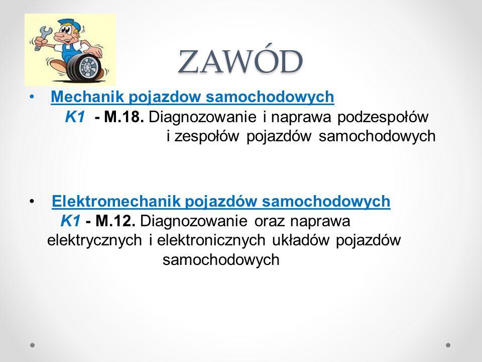 ZAWÓD Mechanik pojazdow samochodowych K1 - M.18.