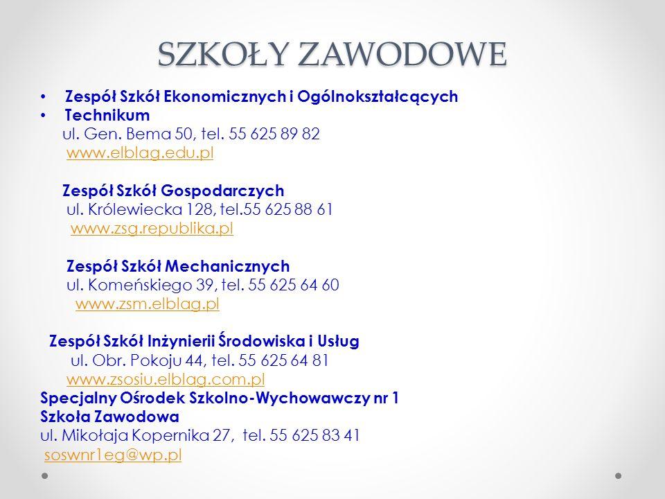 SZKOŁY ZAWODOWE Zespół Szkół Ekonomicznych i Ogólnokształcących Technikum ul.