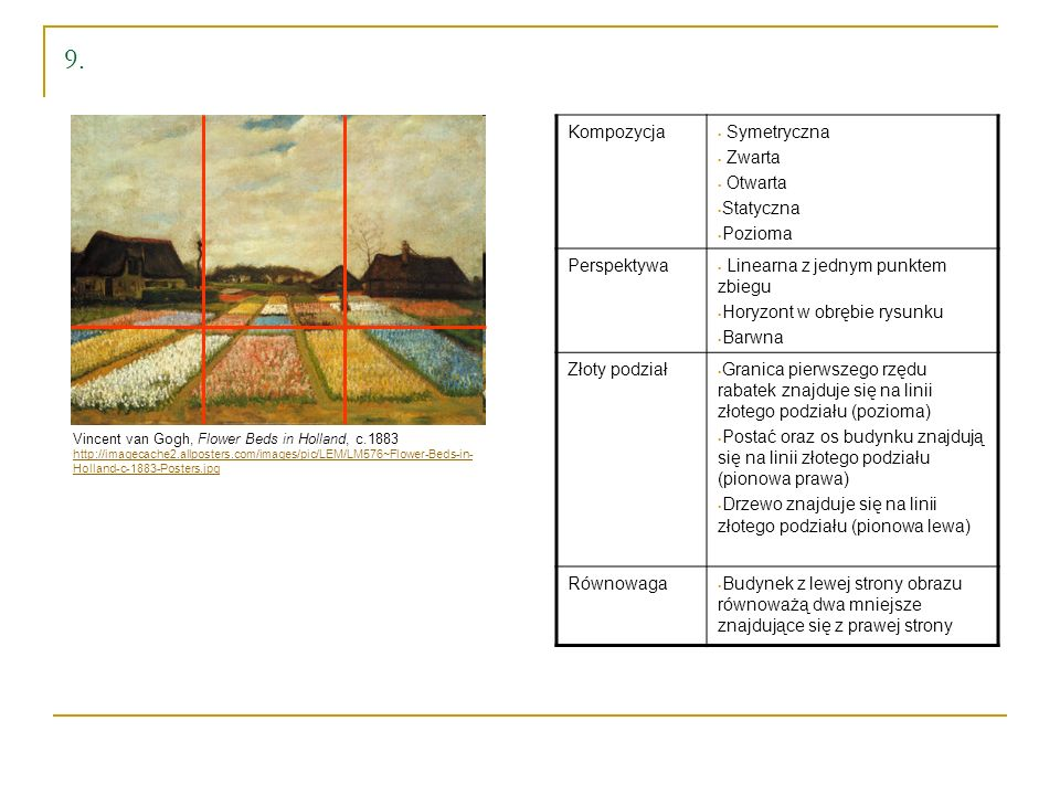 Vincent van Gogh, Flower Beds in Holland, c.1883 http://imagecache2.allposters.com/images/pic/LEM/LM576~Flower-Beds-in- Holland-c-1883-Posters.jpg 9.