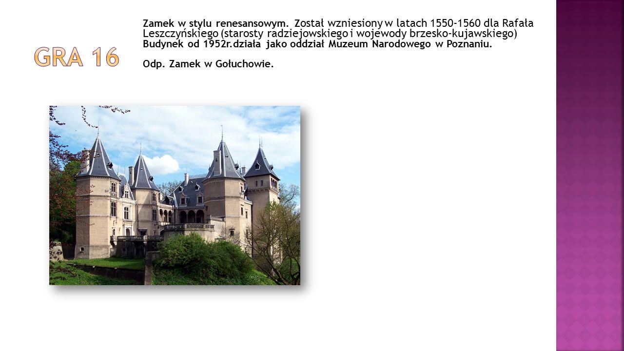 Zamek w stylu renesansowym. Z ostał wzniesiony w latach 1550-1560 dla Rafała Leszczyńskiego (starosty radziejowskiego i wojewody brzesko-kujawskiego)