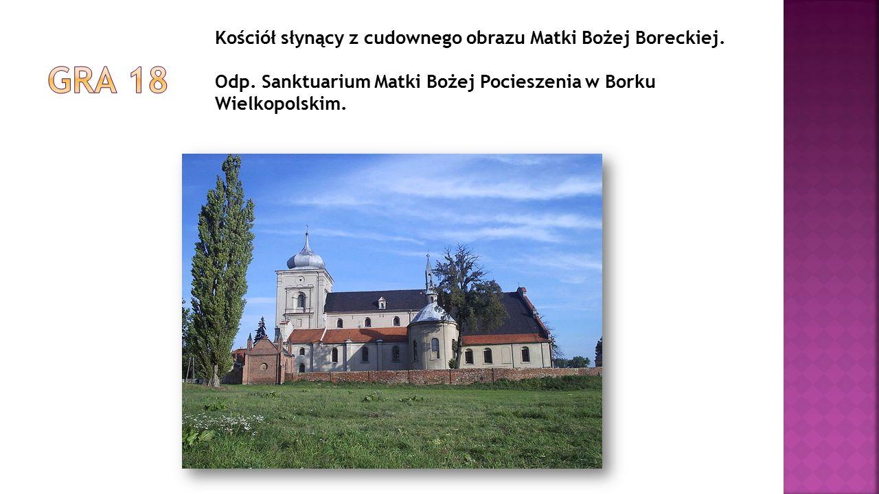 Kościół słynący z cudownego obrazu Matki Bożej Boreckiej. Odp. Sanktuarium Matki Bożej Pocieszenia w Borku Wielkopolskim.